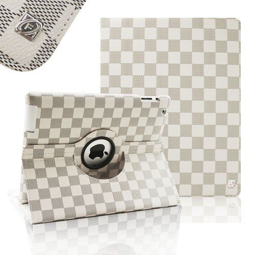 FINTIE (White/ Gray Grid Pattern) 360 Degree Rotating Stand Smart Cover PU Leather Case for Apple iPad 4th Generation Retina Display / the new iPad 3 / iPad 2 (wake/sleep) by FINTIE, http://www.amazon.com/dp/B005SNVAOO/ref=cm_sw_r_pi_dp_DY2Yqb079XT9N
