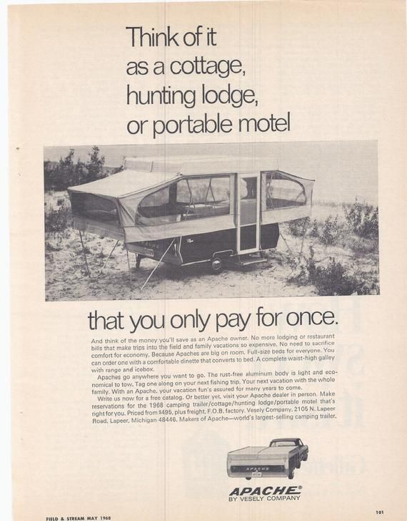 Vintage 1968 Apache Camping Trailer Pop-Up B&W Advertisement