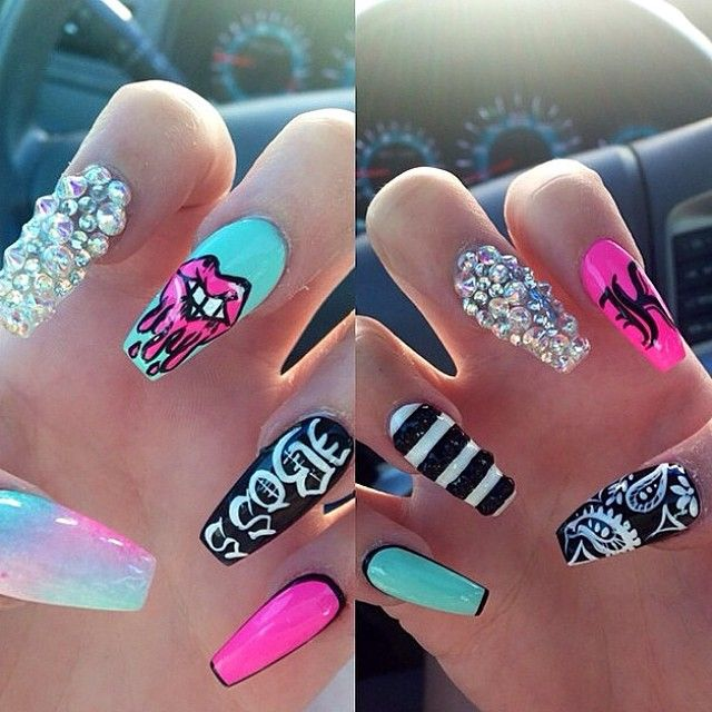 Nail art ideas | ghetto nail art | coffin nail designs | Bling nails - Nail Art Ideas Ghetto Nail Art Coffin Nail Designs Bling Nails