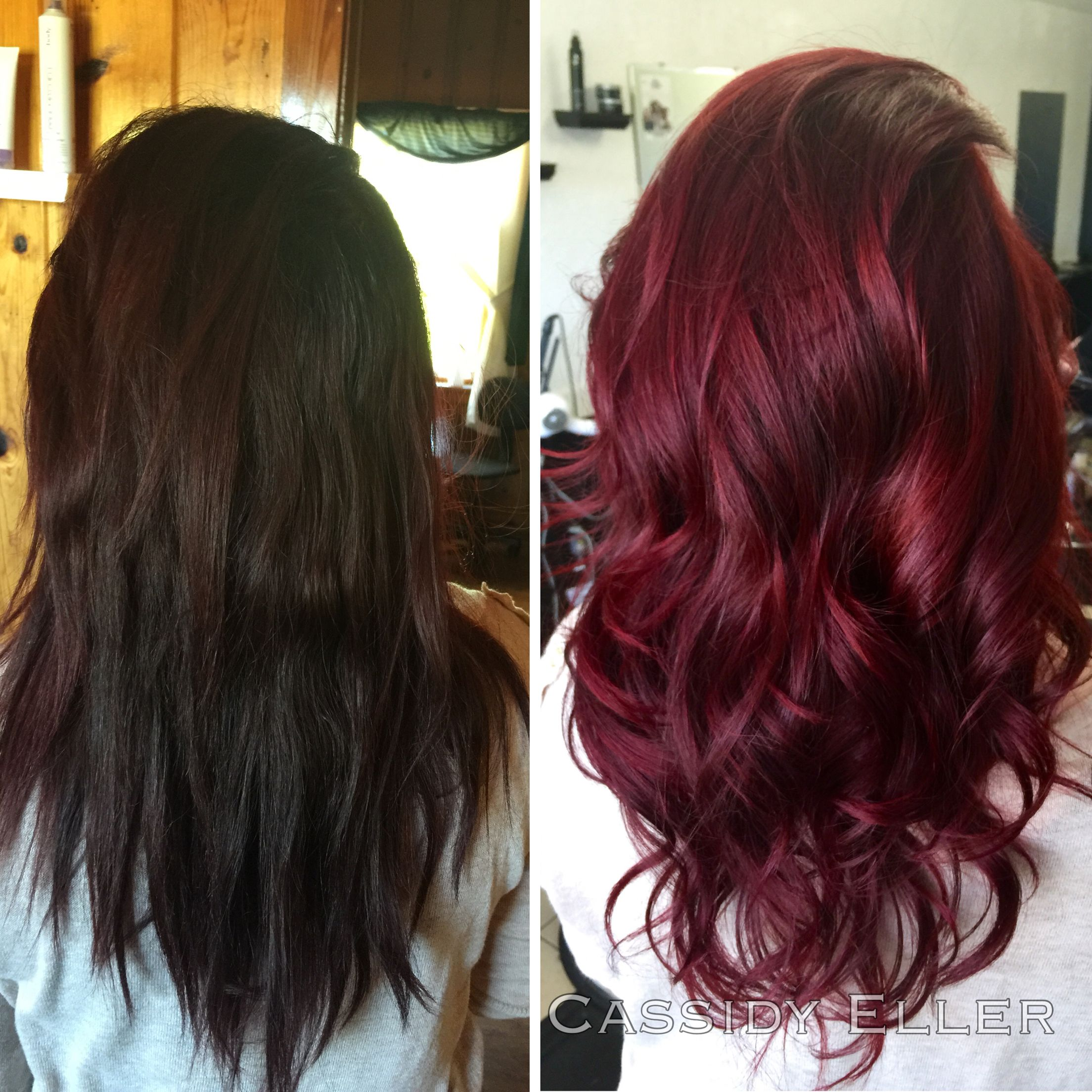 Before And After Brunette To Red Paul Mitchell The Color Joico Intensities Wine Hair Hair Color Burgundy Hair Color Shades