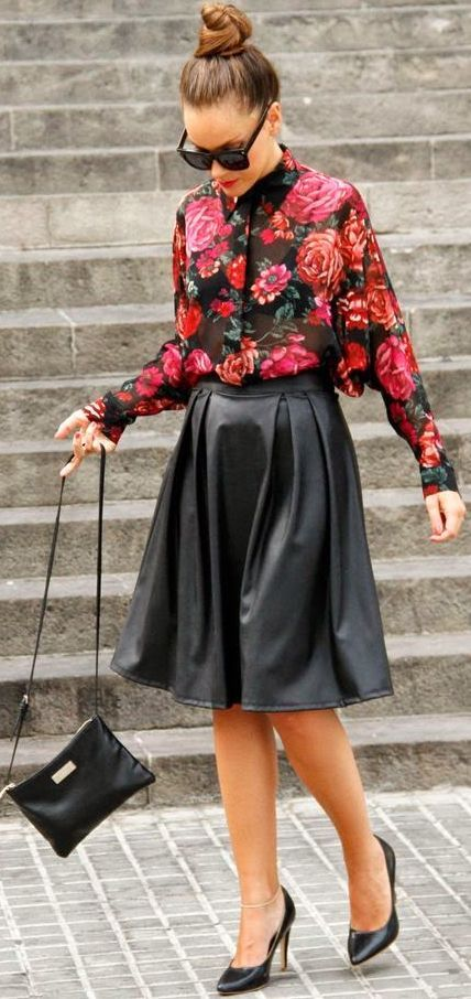 9eca9f0e23e8 Rose Print Button Up Streetstyle Inspo. Find this Pin and more on Fashion  Makeover by UnapologeticallyParis. Tags. Black Leather Skirts · Leather  Midi Skirt