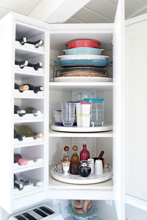 Organized Kitchen Corner Cabinet With A Diy Lazy Susan Kitchen Corner Cupboard Kitchen Cupboard Organization Corner Kitchen Cabinet