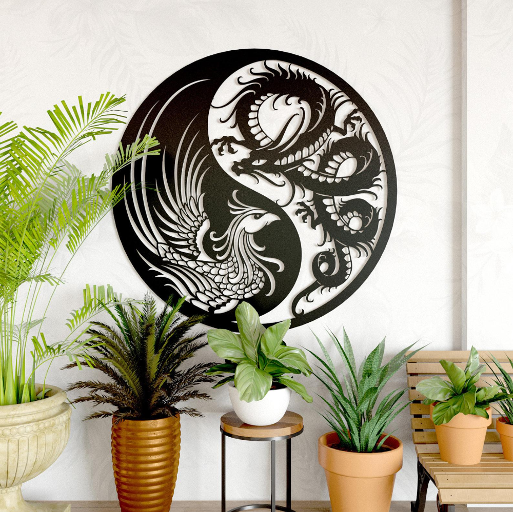 Dragon Phoenix Metal Wall Decor Metal Wall Hanging Etsy In 2020 Outdoor Metal Wall Art Metal Wall Hangings Metal Wall Decor