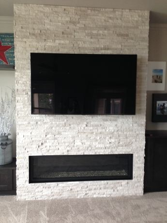 Image result for shelving ideas beside stone fireplace - How high to hang tv in living room ...