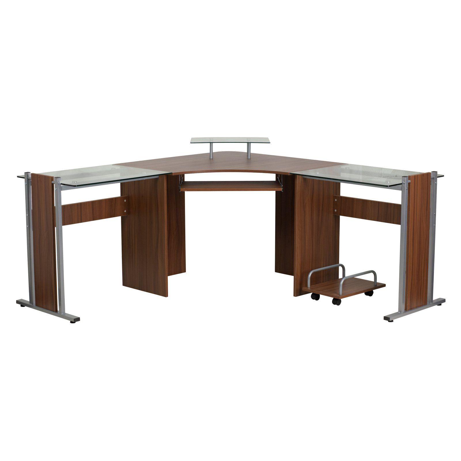 Flash Furniture Corner Desk With Cpu Cart Teak Products In