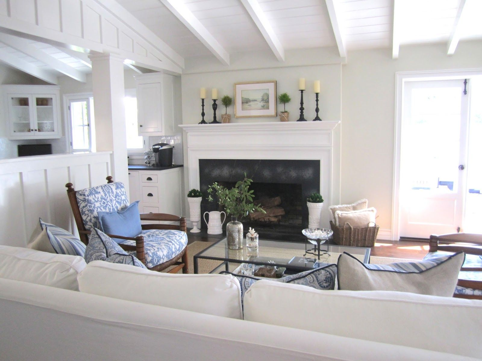 This could not be any more perfect move me in please blue and white casual beach cottage