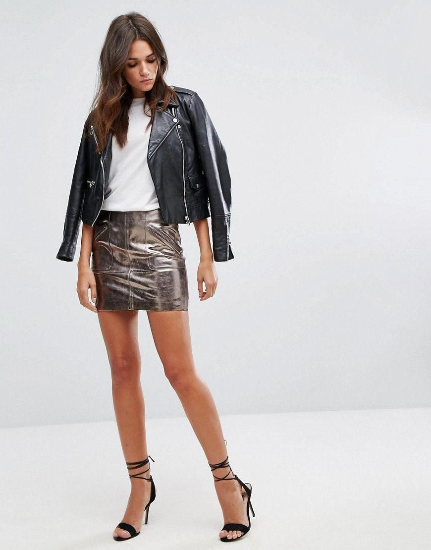 Leather Look Skirt At All Costs Women's Clothing