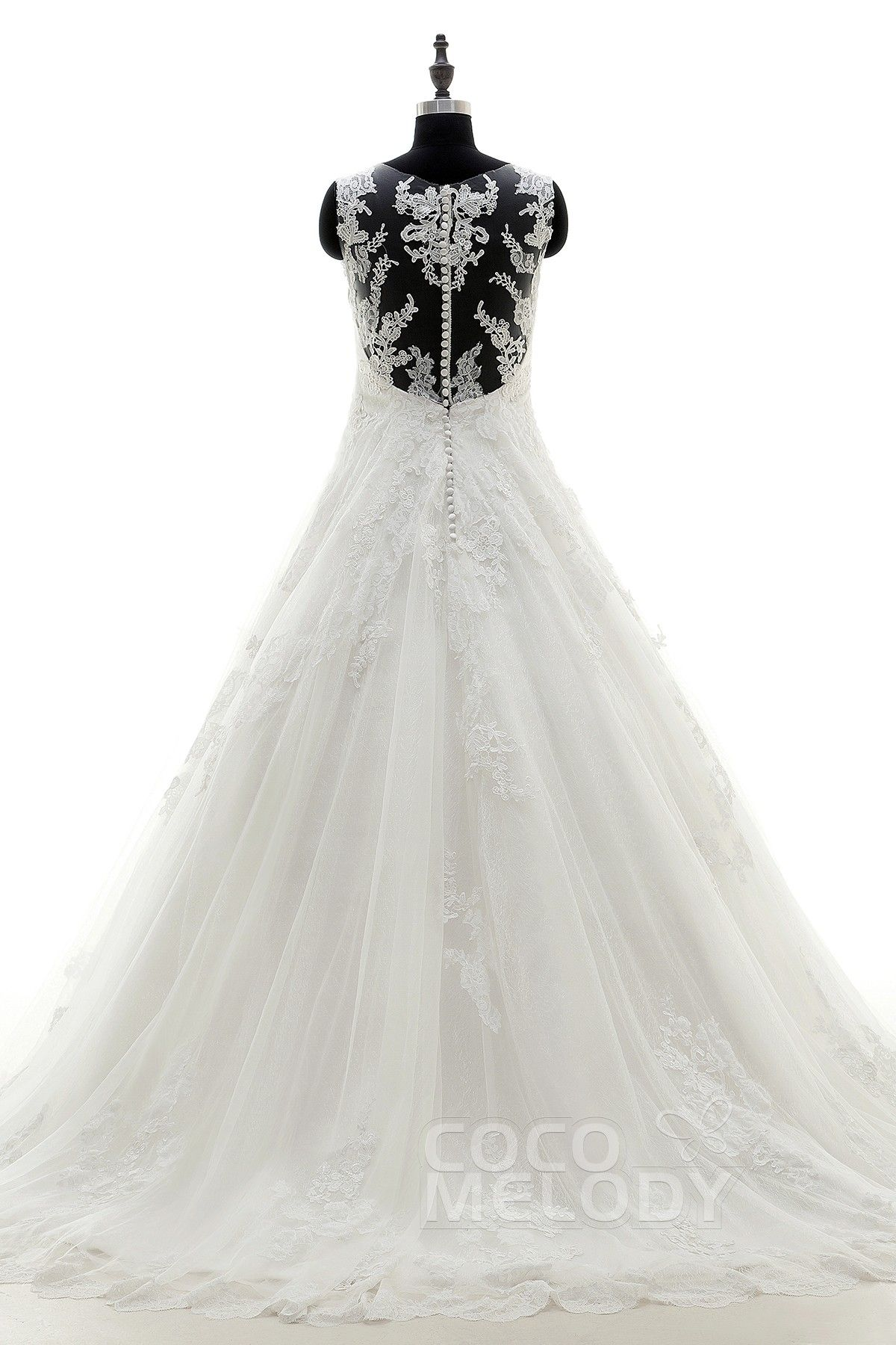 Fashion A-Line V-Neck Train Tulle Ivory Zipper With Button Wedding Dress with Appliques LD3831 #weddingdress #cocomelody