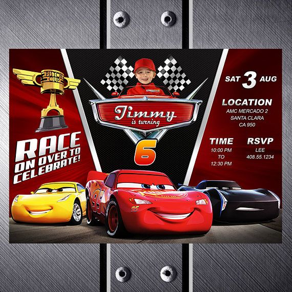 Disney Cars 3 Birthday Invitation Party Invite Lightning McQueen Printable