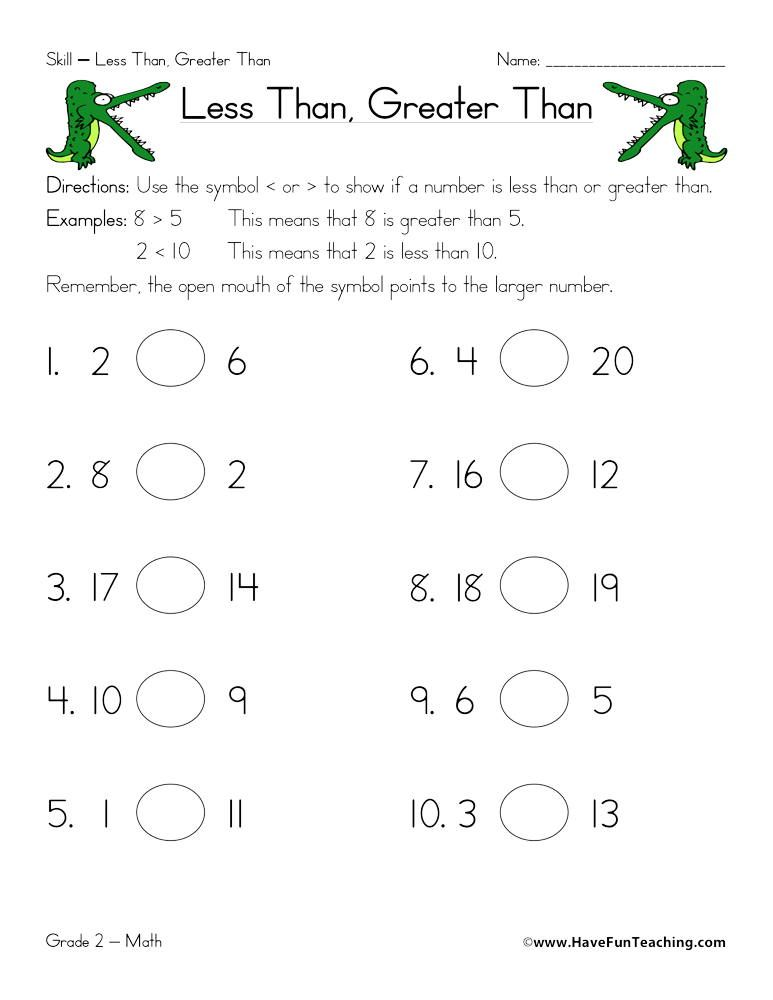 Less Than Greater Than Worksheet Kindergarten Worksheets Kindergarten Worksheets Printable Less Than Greater Than