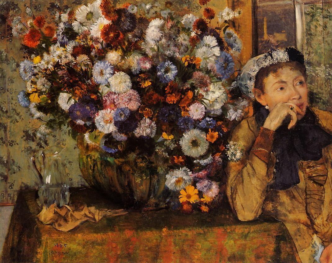 Edgar Degas - Une femme assise à côté d'un vase de fleurs  (Madame Paul Valpincon?)