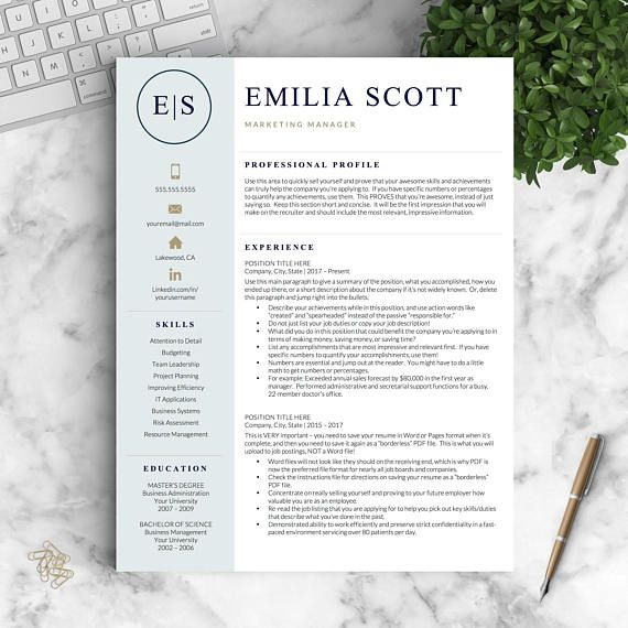 Modern Resume Template for Word and Pages + Cover Letter 1, 2  3