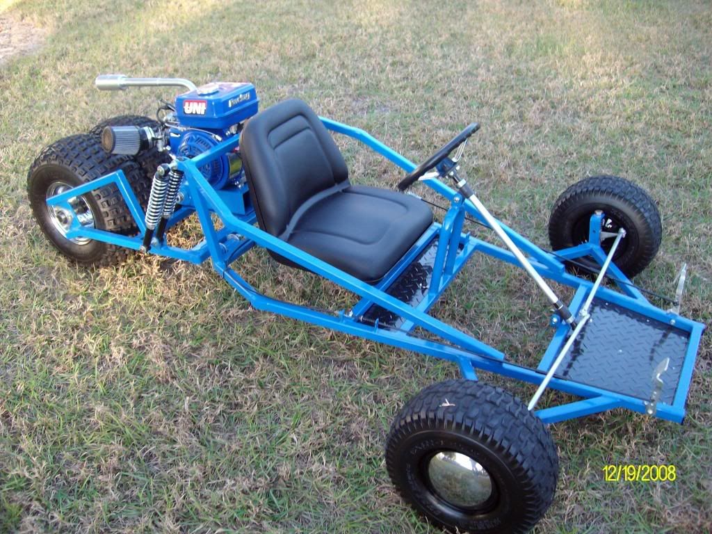 Here is the finished product of a Reverse trike of mine !!!! Go Kart ...