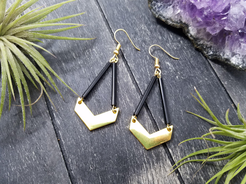 Jet Black And Gold Plated Chevron Geometric Dangle Earrings Etsy Gold Earrings Dangle Chevron Earrings Black Earrings Dangle