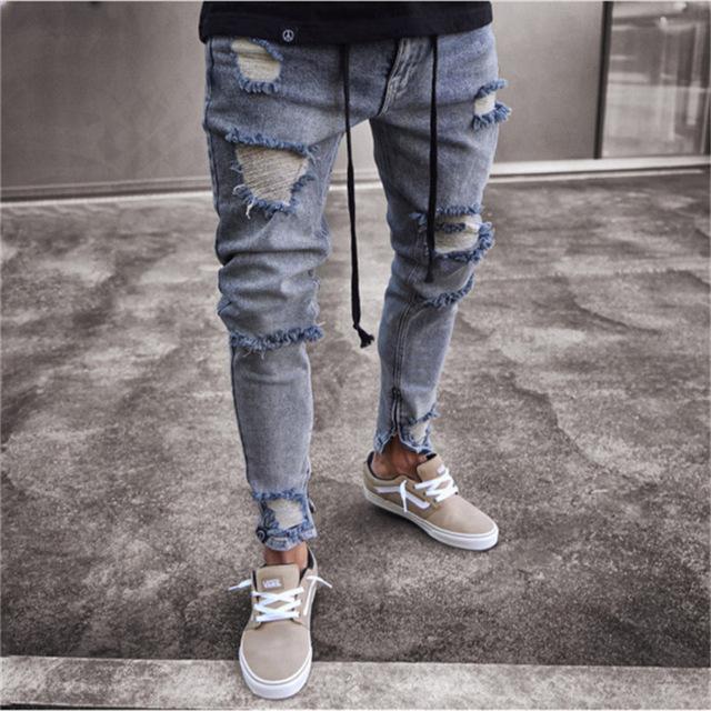 Fashion Men Slim Biker Denim Jeans Skinny Frayed Pants Distressed Rip Troursers