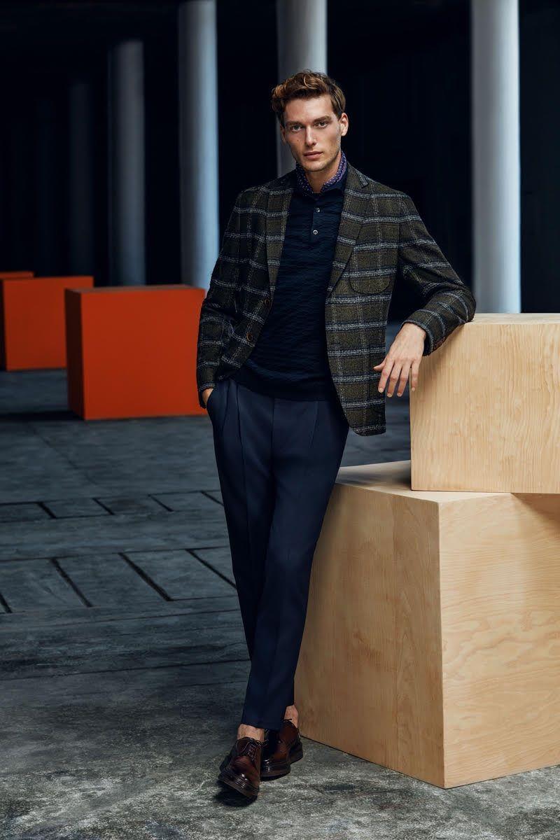 98f5ff013da21 A chic vision, Nikola Jovanovic wears a sleek look from Lufian s  fall-winter 2018 collection.