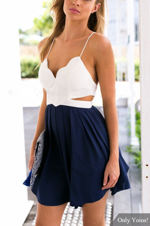 1faa216e64b5 Sexy Navy and White Backless and Sleeveless Playsuit with Cut Out Details   Sexy  Navy Blue  White  Playsuit  ROmper  Summer  Beach  Fashion
