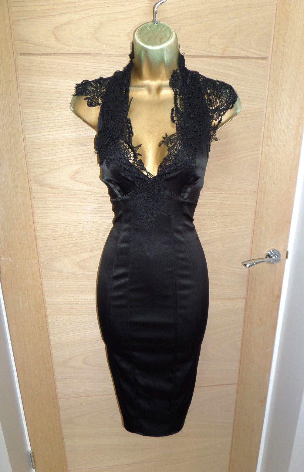 25486b62 KAREN MILLEN VICTORIAN LACE CORSET WIGGLE DRESS UK 14 42 HOURGLASS COCKTAIL