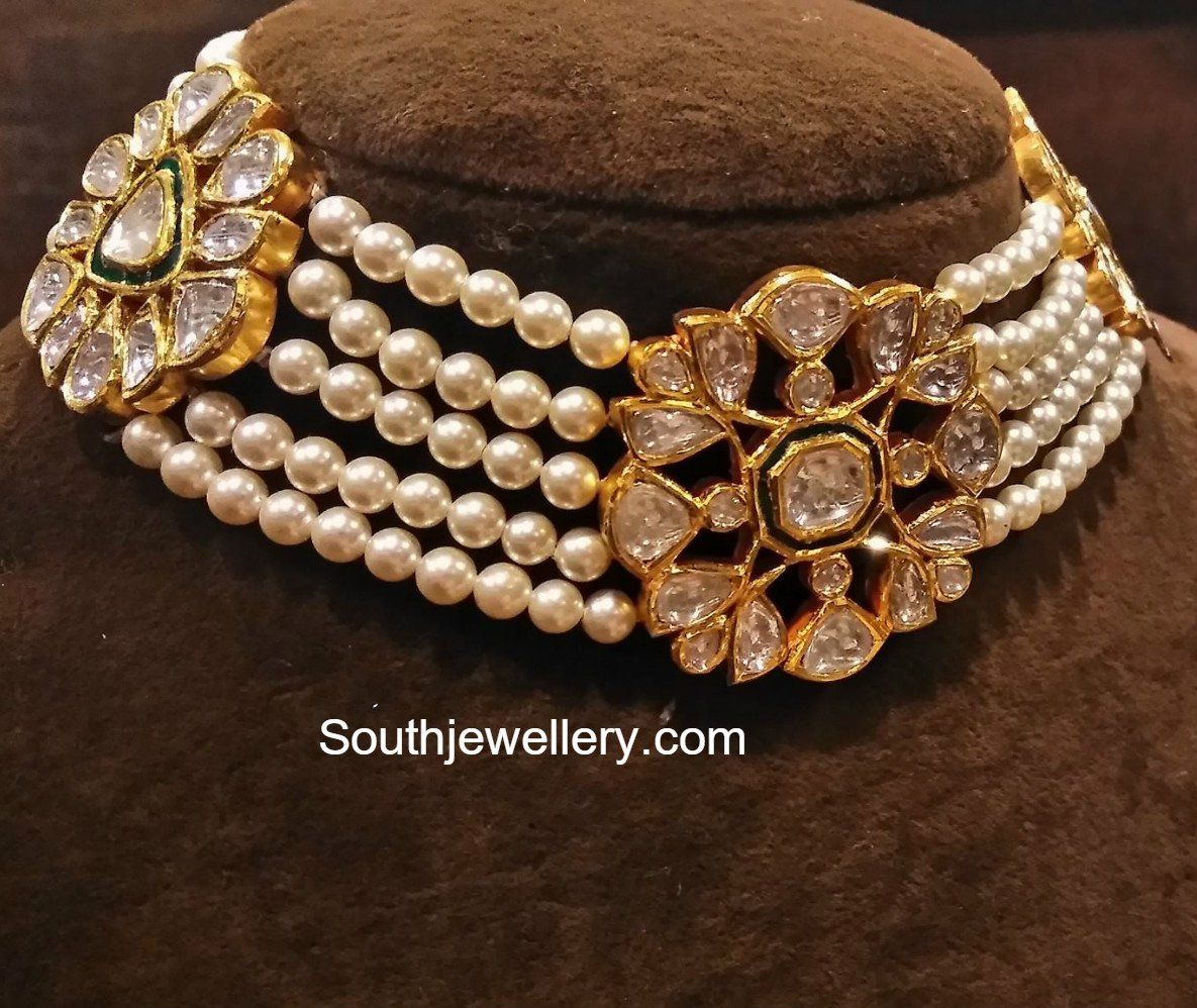 Elegant South Sea Pearls and Polki Diamond Choker jewellery