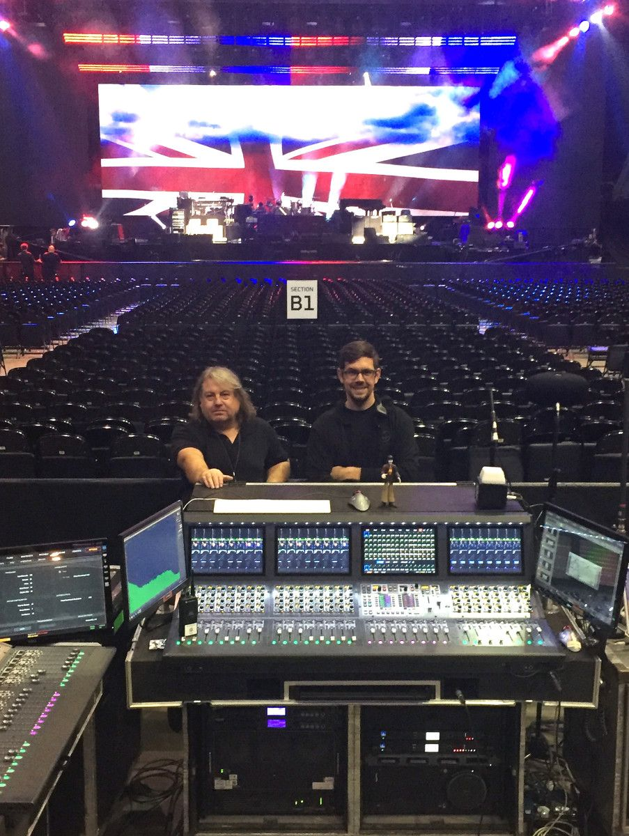 """FOH engineer Paul """"Pab"""" Boothroyd (left) and system engineer Andrew"""
