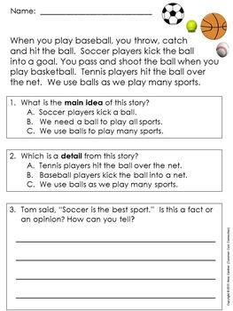 Main Idea And Details The First Set Main Idea And Detail High Interest Reading Passages Reading Comprehension Passages Main idea worksheets grade 5