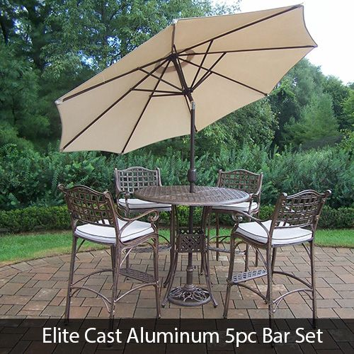Elite Cast Aluminum 5pc Bar Set With Umbrella Stand Cushions Patio Bar Set Oakland Living Patio