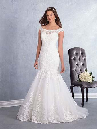 Alfred Angelo Style 3002 Mermaid Wedding Dress With Sheer Off The