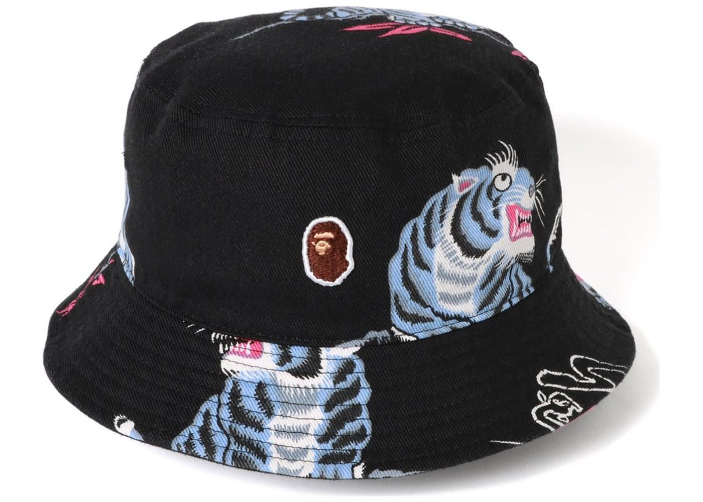 5b7cfc5e Check out the BAPE Tiger Pattern Bucket Hat Black available on StockX