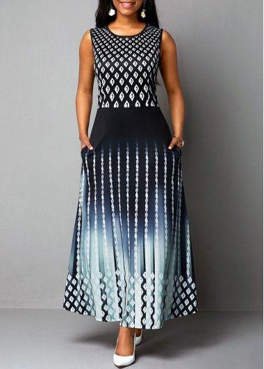 Round Neck High Waist Sleeveless Dress #blacksleevelessdress