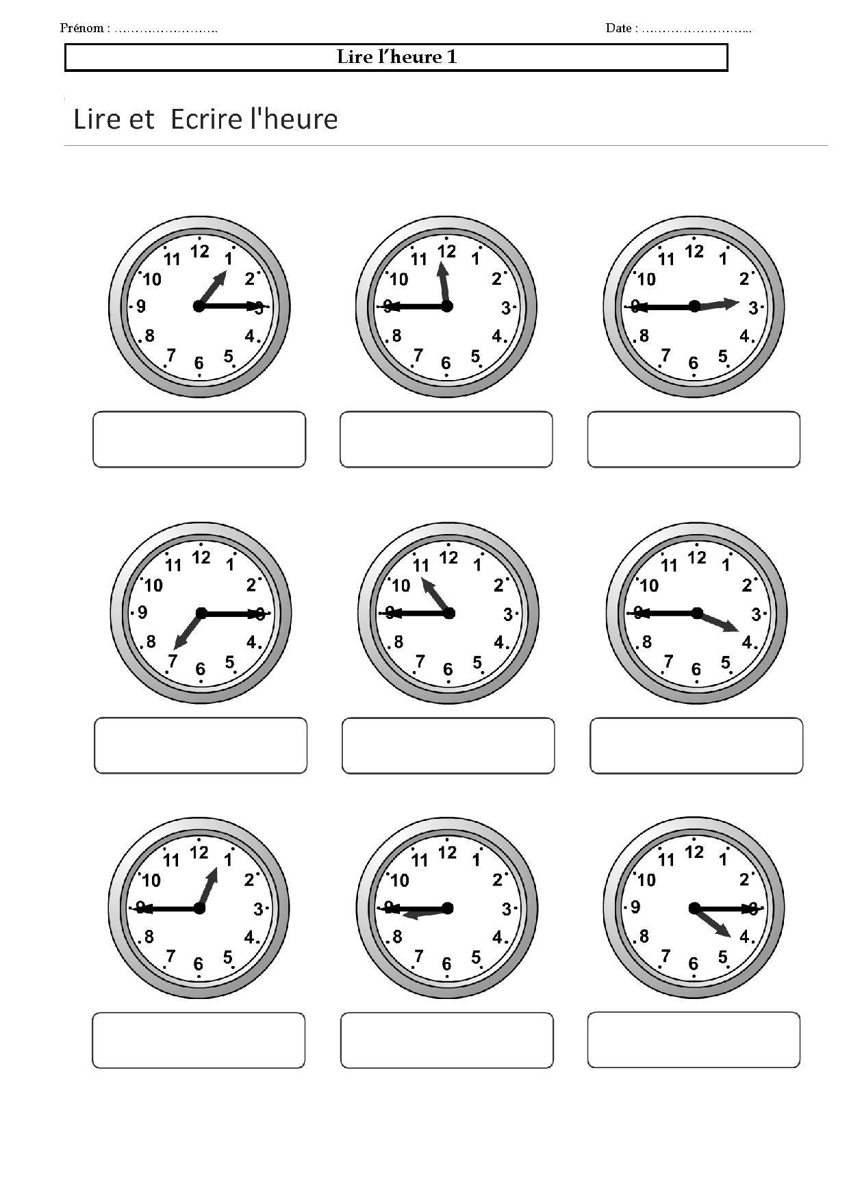 Lire l'heure CE,CM | Apprendre l'anglais, Apprendre l heure, Apprendre à lire l'heure