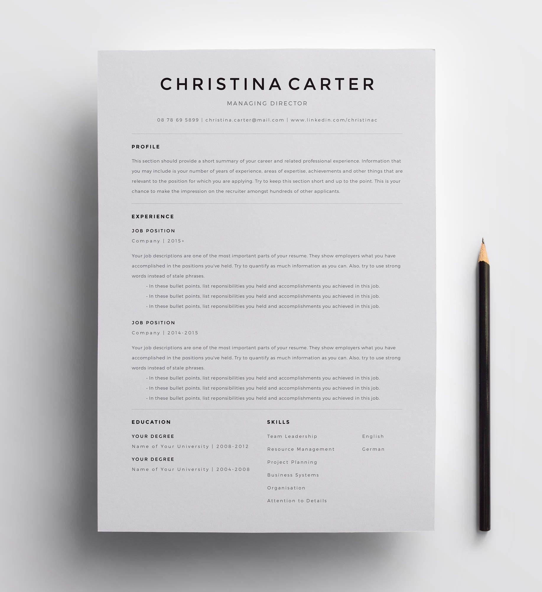 creative resume template  minimalist resume  resume