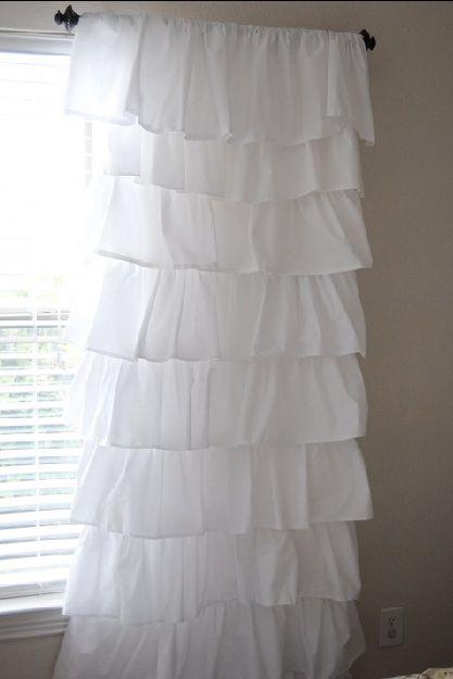 homemade ruffled curtains using 4 flat sheets from walmart sewing rh pinterest com