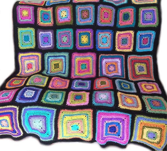 Häkeln afghanischen Kaleidoskop Decke Rainbow Decke | Wolle | Pinterest