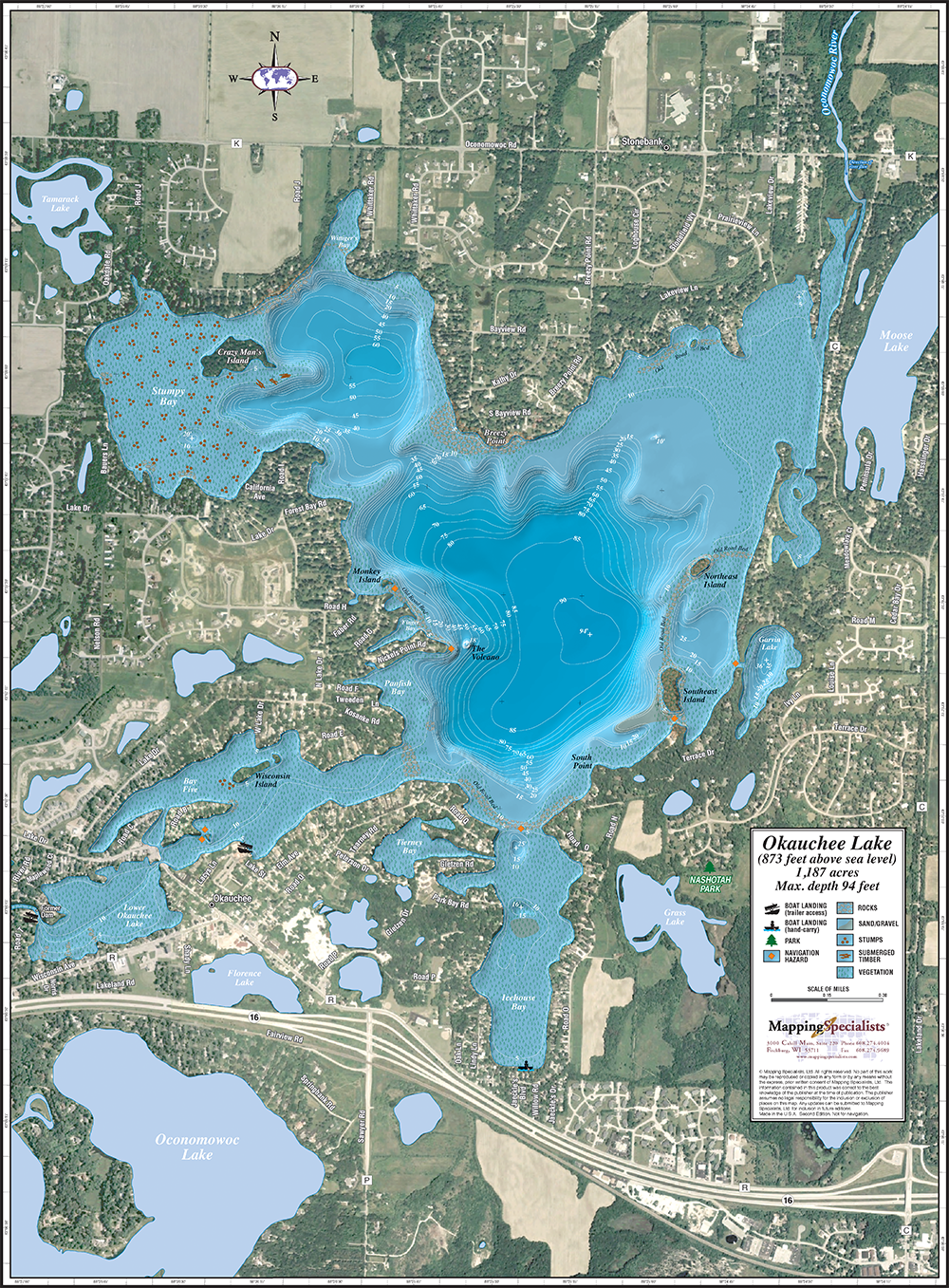 Okauchee Lake Enhanced Wall Map Okauchee Lake Wall Maps Lake