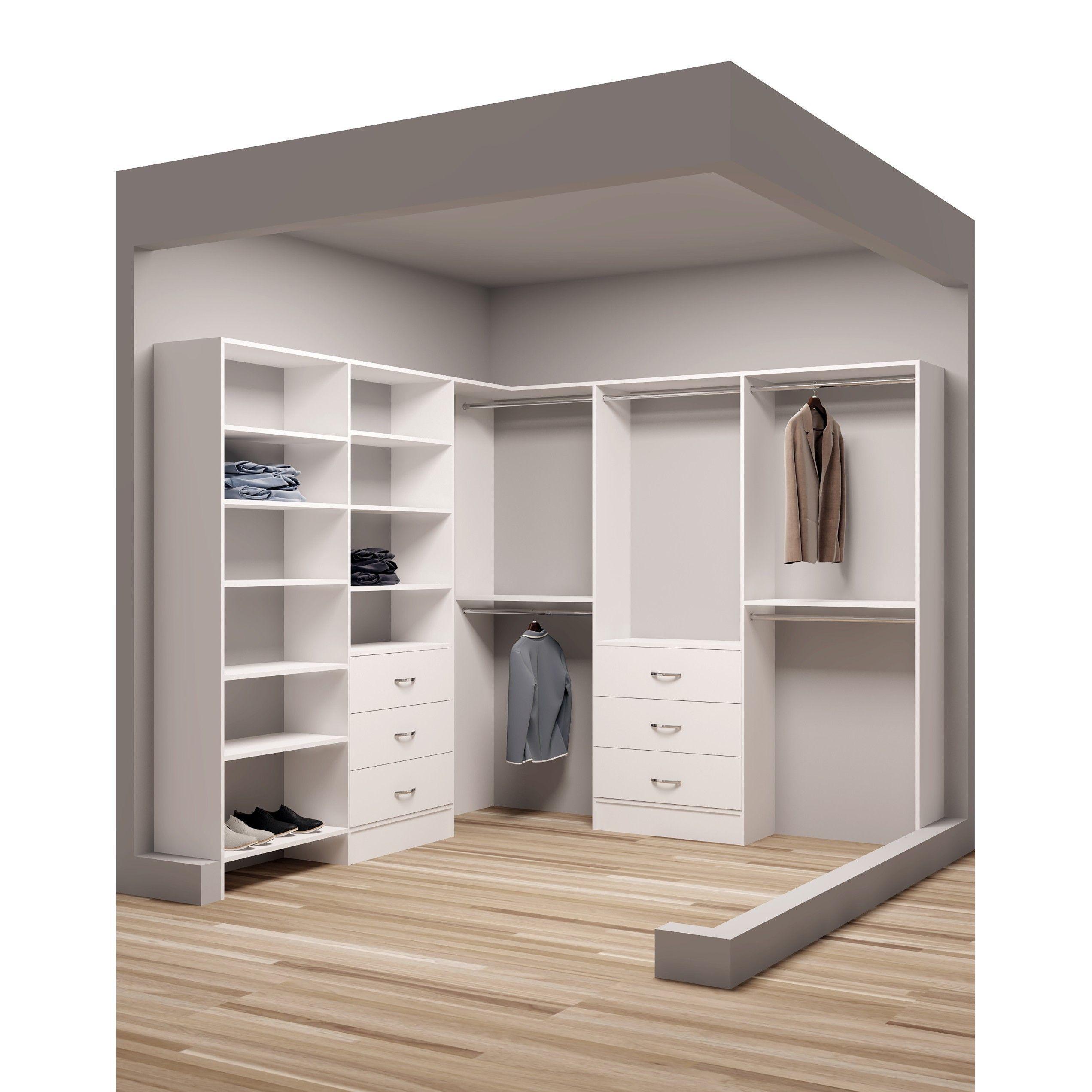 Nice Corner Closet Shelving. Tidysquares Classic White Wood 93 X 96 Corner  Walkin Closet Organizer Design