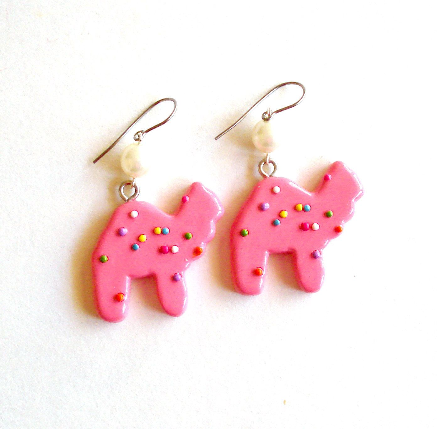 Photo of Circus Animal Cookies Earrings Frosted Animal Cookie Earring Animal Crackers Kawaii Pink Rainbow Sprinkles Cookie Pin Up Jewelry Mini Food