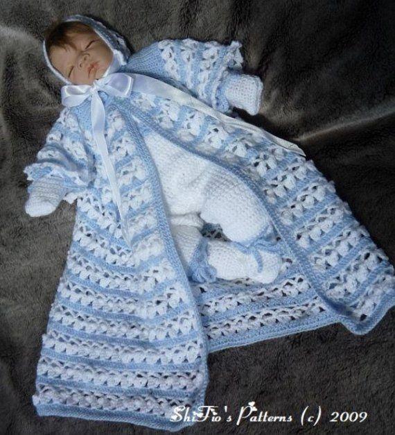 Crochet Pattern For Boys Christening Jacket Trouserspants Bonnet