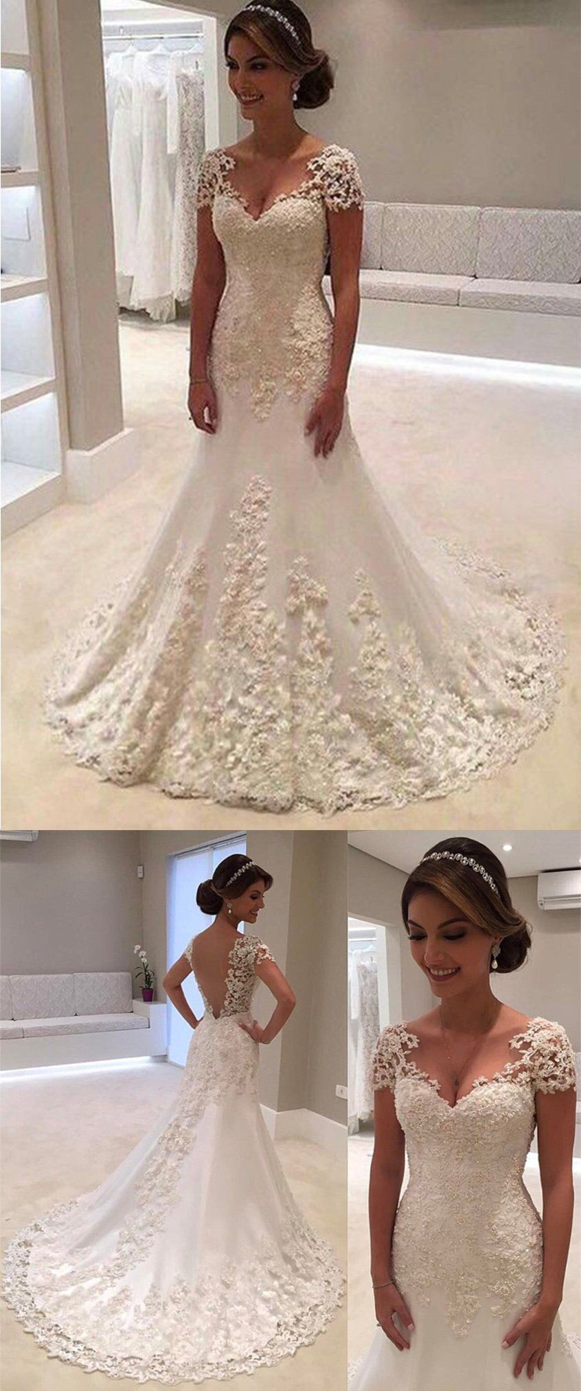 Chic trumpet vneck tulle with applique short sleeves wedding dress