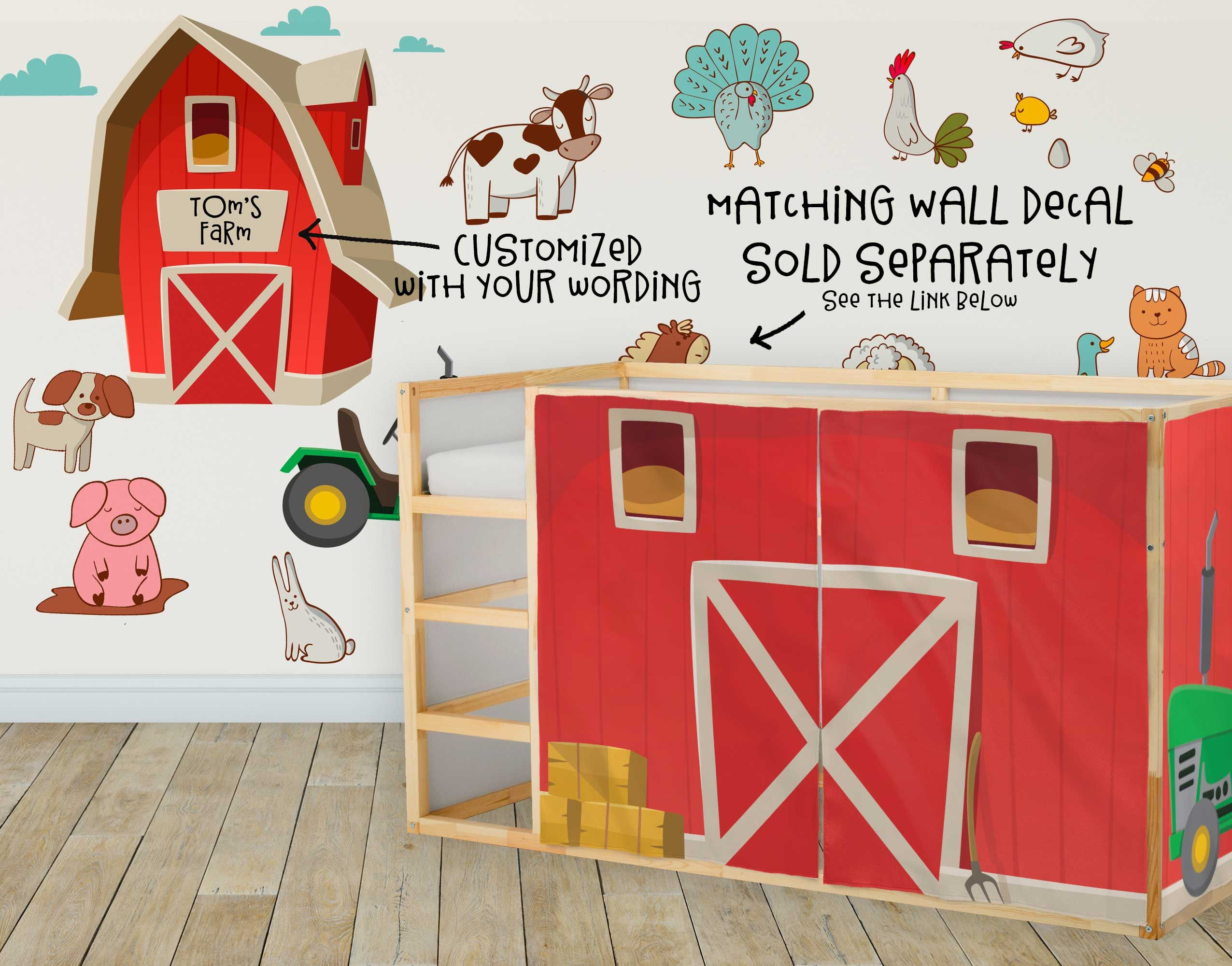 Farm Playhouse Curtains, Barn Ikea Kura Bed, Loft Bed