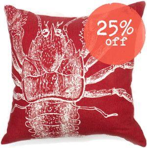Thomas Paul Lobster Pillow - Tomato