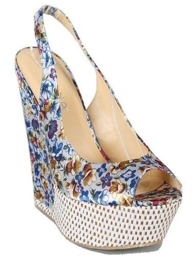 Blue Floral Satin Slingback Peep Toe Wedge High Heel Sandal Platform Shoe | eBay