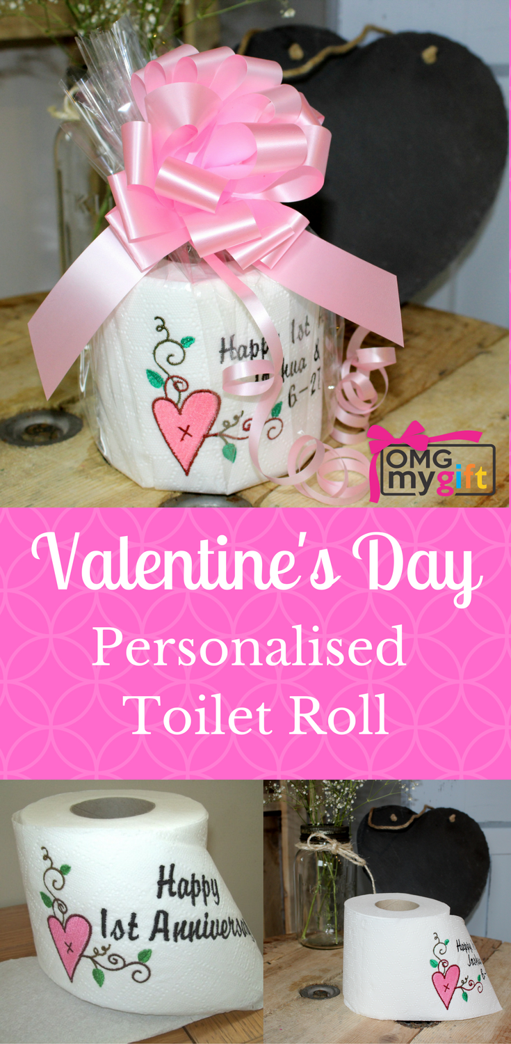 Personalised Toilet Roll with embroidered Heart & Vine design. Add ...