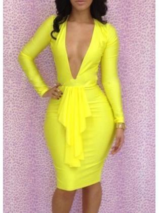 Spotlight Yellow Long Sleeve Dress with Flouncing Decoration