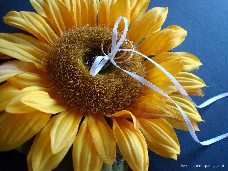 sunflower ring bearer pillow Ring pillow, Sunflower ring