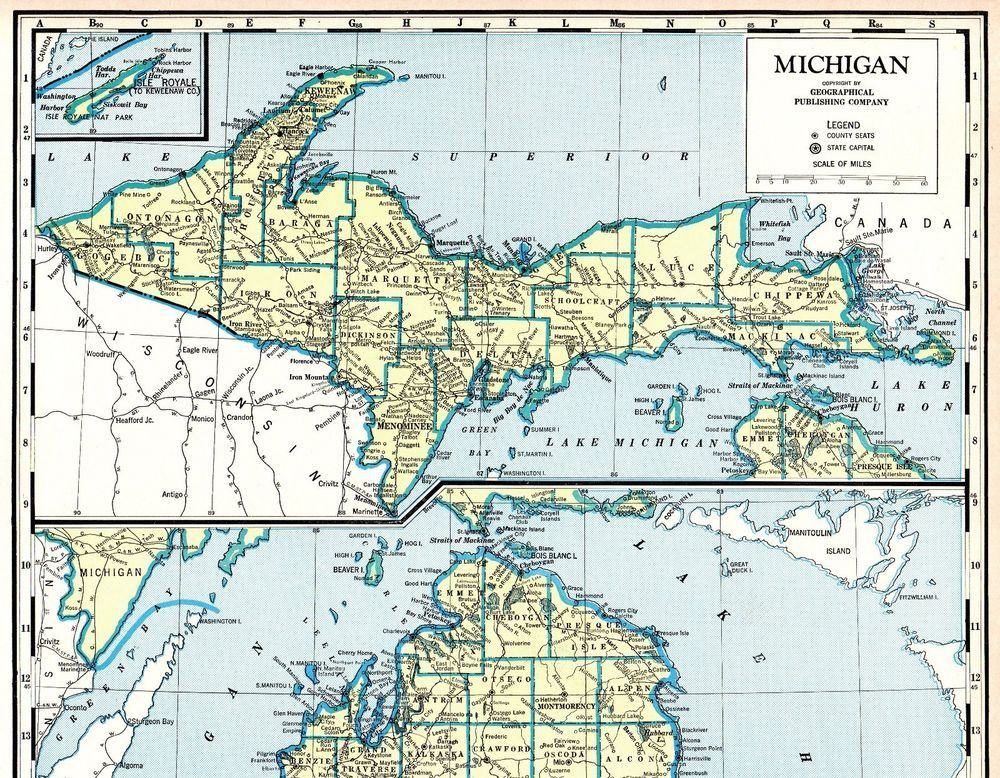 Antique MICHIGAN State Map 1967 Rare Poster Size Vintage Map of ...