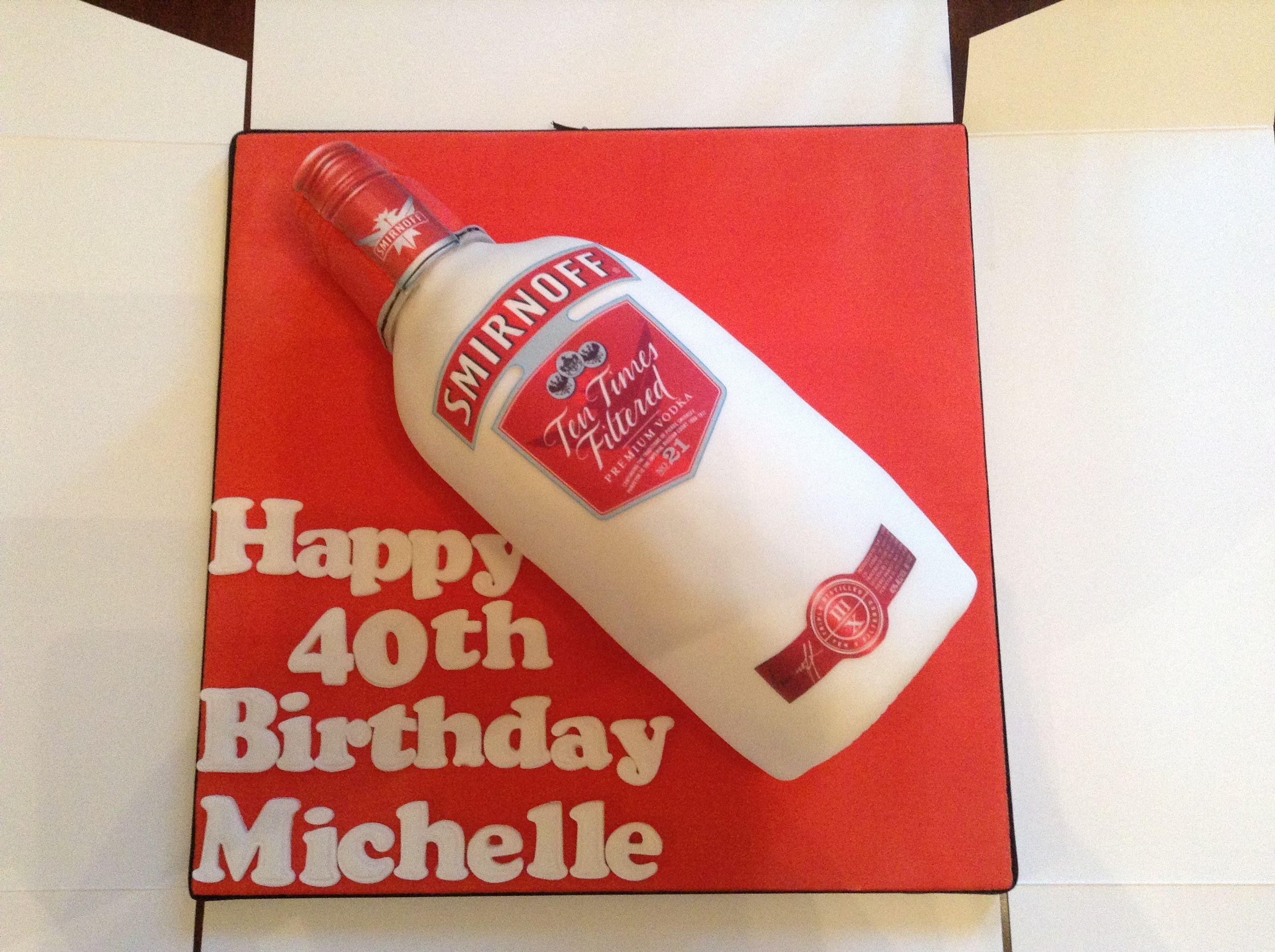 Bottle of vodka smirnoff cake from cakes by nicky