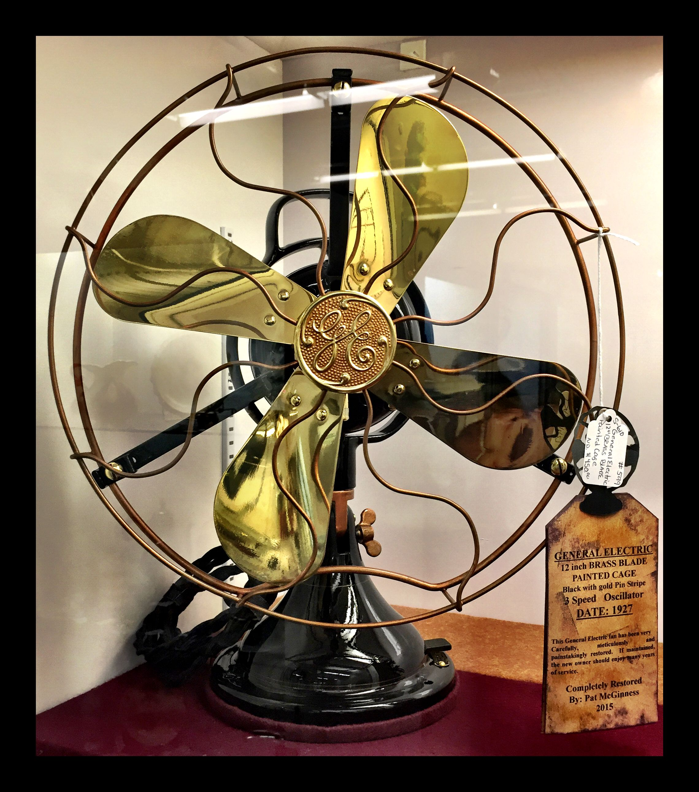 General Electric 12 Inch Brass Blade Painted Cage Fan Date 1927 Completely Restored By Pat Mcginness 450 00 Gaslamp Ant Antique Fans Vintage Fans Antiques