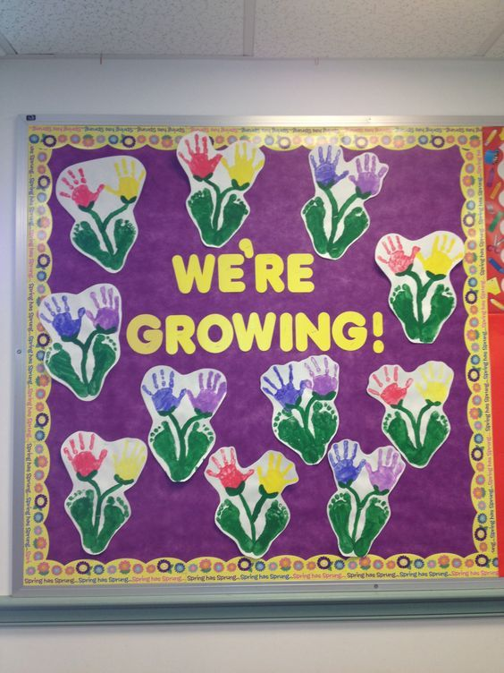 Bulletin Board Ideas Infant Classroom ~ Spring bulletin board preschool hand prints and