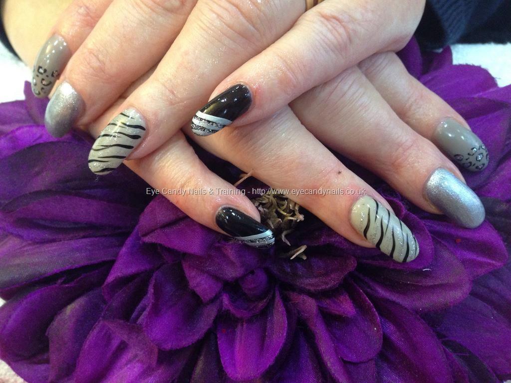 Acrylic nails with gold gelux gel polish black gelish gel polish