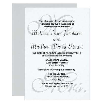 Mr \ Mrs - 3x5 Wedding \ Reception Invitation Reception - formal invitation style